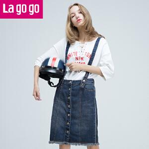 Lagogo2017秋新款牛仔背带裙chic连衣裙女包臀裙半身裙休闲一字裙