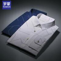 罗蒙(ROMON)衬衫男长袖秋季新款弹力免烫衬衣修身男上衣白色印花韩版男装