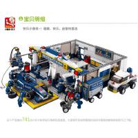 小鲁班拼装积木 F1维修站模型赛车儿童启蒙益智玩具组装M38-B0356