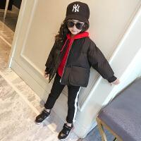 女童短款棉衣外套冬季中大童加厚保暖面包服棉袄童装纯色拉链