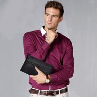 贝尔男包男士手包真皮夹包大容量手抓包头层牛皮商务休闲手拿包