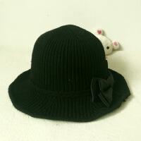秋冬季新款女士帽子 蝴蝶结加厚毛线帽盆帽 户外休闲渔夫帽