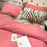 秋冬季加厚保暖全棉磨毛四件套纯棉淑女斑马粉色床单床笠床上用品