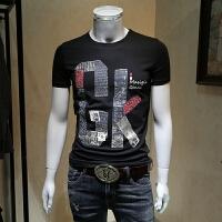 男士短袖t恤男2018夏装新款圆领字母图案印花青年韩版修身半袖潮 黑色 M