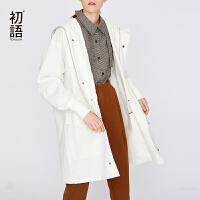 初语白色连帽收腰女式风衣宽松中长款春装新款休闲外套大衣