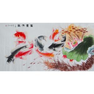 现代画家  杨丽  富贵有鱼   *