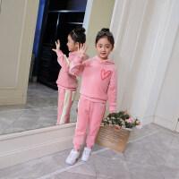 女童秋冬装套装儿童加绒加厚洋气冬季中大童卫衣运动童装2018新款