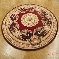 圆形茶几水洗羊毛地毯客厅吊篮欧式床边地毯沙发可定制满铺房间 酒红色(预售)