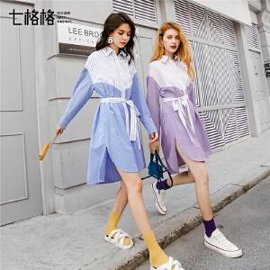 衬衫连衣裙春装2019款女装学生韩版显瘦气质收腰流行仙女桔梗裙子