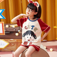 小情歌女童家居服纯棉短袖短裤套装夏季中大童夏儿童宝宝女孩两件套睡衣JBEJ113