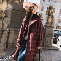 格子毛呢外套女中长款韩版秋冬季新款学生宽松加厚韩国呢大衣 红色格子 S