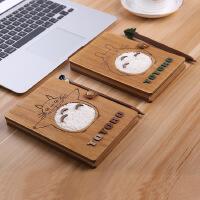 守护龙猫笔记本日记本手绘本带笔木质封皮手绘本子记事薄毕业礼物