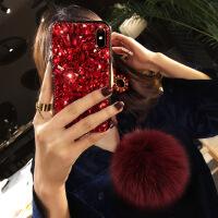 毛球苹果X手机壳新款女iphone7plus硅胶全包6s奢华大气水钻8p韩国
