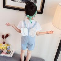 婴幼儿小女孩子夏装休闲套装1儿童3岁宝宝翅膀背带短裤两件套