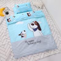 纯棉幼儿园被子三件套午睡被褥宝宝婴儿童被套六床上用品入园夏季 浅灰色 快乐萌狗
