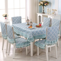 格子桌布简约现代欧式餐椅套罩椅垫套装餐桌茶几家用长方形桌布艺 乳白色 斜格蓝