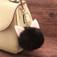 可爱猫耳毛球钥匙扣 时尚大气女士包包挂件 汽车钥匙挂链