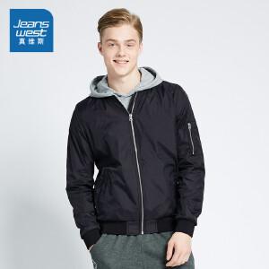 [每满400减150]真维斯飞行员夹克男 2018春装男装韩版修身棒球服学生时尚薄外套