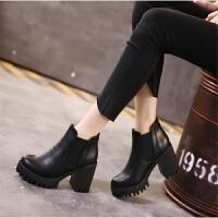 2018新款马丁靴女粗跟短靴百搭冬季高跟鞋学生韩版春秋季单靴子女 黑色 黑色单里