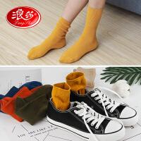 【满99减10】【6双装】浪莎袜子女堆堆袜韩国可爱中筒学院风日系百搭欧美潮长袜子