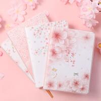 创意萌宠樱花猫咪胶套本随身小本子彩页本大号号笔记本记事本