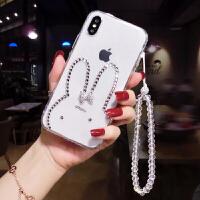 新款苹果7plus手机壳女款网红带钻iphone6s水钻透明保护套8防摔潮 果6/6s 水钻兔子+白手链
