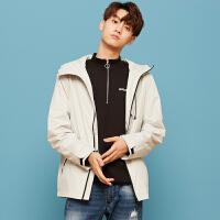 【年货节狂欢购,2件3折到手价:112.5】美特斯邦威旗下 4M夹克男印花短款风衣夹克