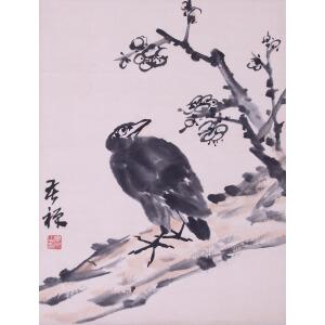 现代书画家、美术教育家   李苦禅(原装旧裱)《花鸟》