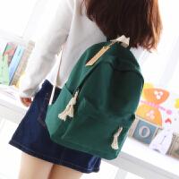 书包女双肩包 韩版初中学生简约纯色帆布休闲双肩背包