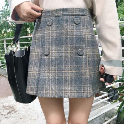 半身裙秋冬女新款修身复古格子毛呢短裙加厚裙子A字裙包臂裙 发货周期:一般在付款后2-90天左右发货,具体发货时间请以与客服协商的时间为准