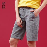 初语 2018夏季新款 韩版宽松休闲中腰短裤女夏学生百搭直筒格子裤