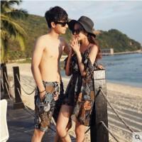 韩版情侣泳衣男五分泳裤宽松女比基尼三件套罩衫显瘦度蜜月温泉