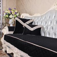 欧式皮沙发垫防滑四季 加厚布艺沙发套全盖黑色沙发垫定做