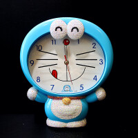 叮当猫卡通可爱挂钟静音男儿童卧室挂表学生创意个性客厅机器猫 天蓝色 半钻款表情随机 其他