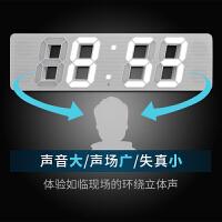 创意挂钟客厅静音夜光钟表万年历电子钟带蓝牙音箱 白色 19英寸(直径48厘米)