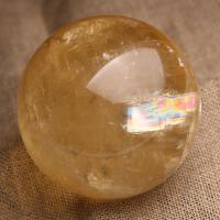 天然黄水晶球摆件风水球招财镇宅原石打磨黄水晶球