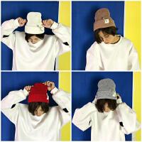韩国秋冬季别针毛线帽保暖贴布针织帽子韩版套头冷帽潮男女情侣帽