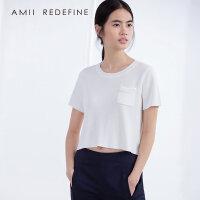 [AMII东方极简] JII[东方极简]春夏新款女装镂空显瘦休闲款短袖针织