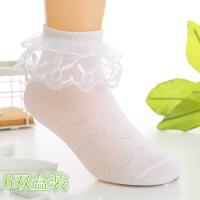 儿童袜子春秋夏公主蕾丝花边袜女童舞蹈袜白色透气纯棉薄学生短袜