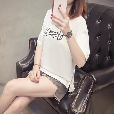 宽松大码圆领短袖T恤微宽松长款2018夏季新款韩版字母女装T恤上衣