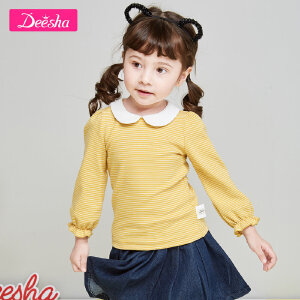 【99元3件专区】笛莎童装女童长袖T恤2019春季新款小童娃娃领木耳袖口儿童套头衫