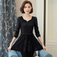 2018春季新款长袖蕾丝衫韩版大码打底衫 女士修身小衫
