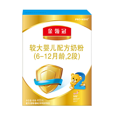 伊利金领冠2段 较大婴儿配方奶粉 400g/盒 金领冠坚持中国宝宝营养研究