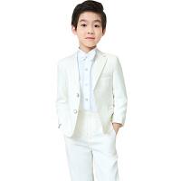 儿童西装套装五件套男童西服礼服小学生弹钢琴演出服花童礼服主持82 白色五件套