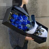 蓝色妖姬鲜花礼盒蓝玫瑰康乃馨鲜花速递同城南京北京杭州上海广州 ju2