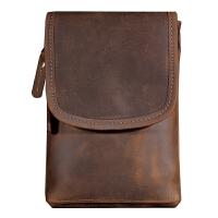 复古新款时尚户外小腰包新款皮男士手机包相机包多功能时尚拉链包 棕色