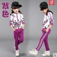 秋装卫衣女童碎花运动套装儿童装小女孩衣服3-12岁秋季长袖 紫色 110cm(110cm码建议身高100左右)
