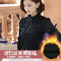 黑色蕾丝打底衫女长袖2018秋冬新款内搭加绒加厚时尚小衫雪纺上衣