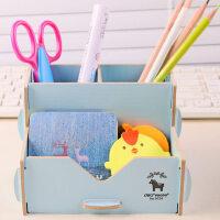 得力多功能笔筒时尚创意韩国小清新学生文具收纳盒木质可爱简约