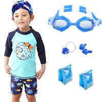 儿童泳衣中大男童游泳衣分体小童儿童泳装泳帽宝宝平角泳裤套餐
